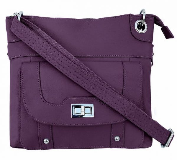 Essential Leather Concealment Crossbody Bag Purple Roma Leathers