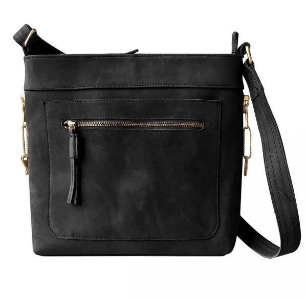 Leather Concealed Carry Satchel Purse black Roma Leathers