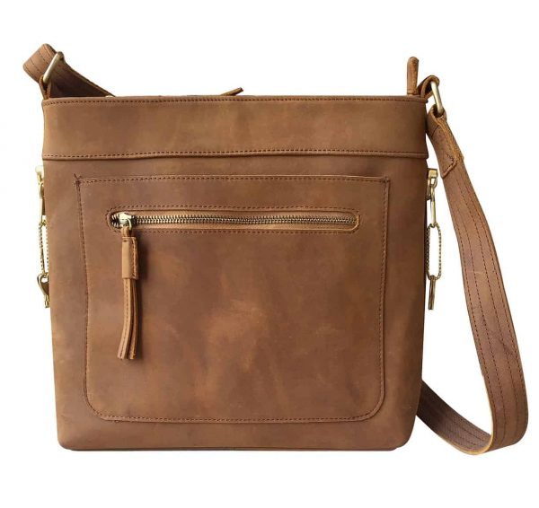 Leather Concealed Carry Satchel Purse light brown Roma Leathers