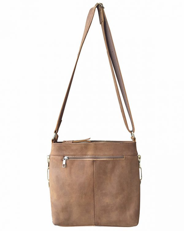 Leather Concealed Carry Satchel Purse light brown full Roma Leathers