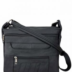 Patch Leather Concealed Carry Crossbody Bag