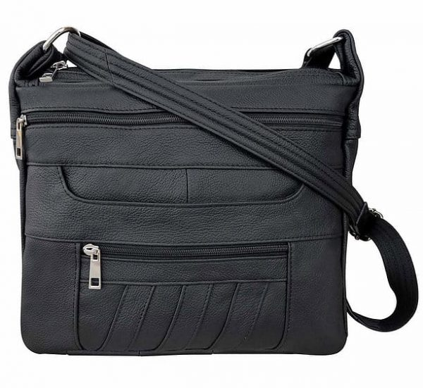Patch Leather Concealed Carry Crossbody Bag Black Roma Leather