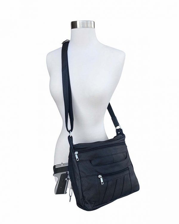 Patch Leather Concealed Carry Crossbody Bag Black Shoulder Carry Roma Leather