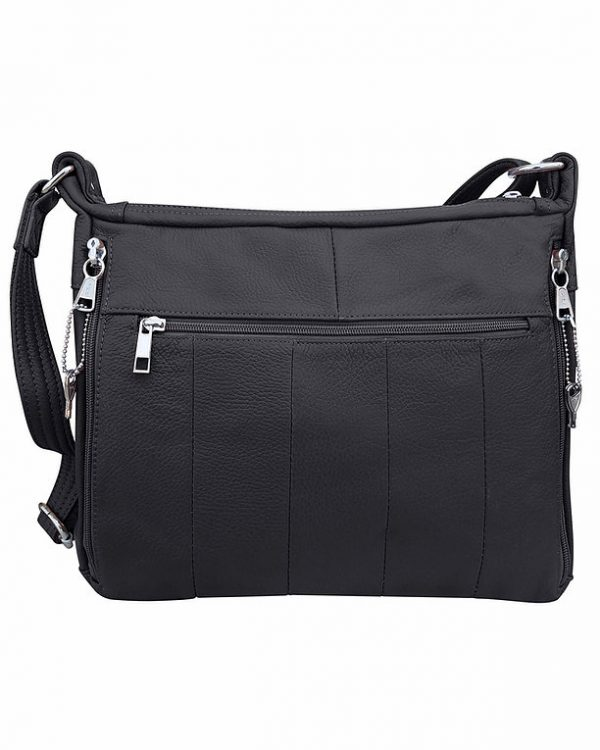Patch Leather Concealed Carry Crossbody Bag Black back Roma Leather