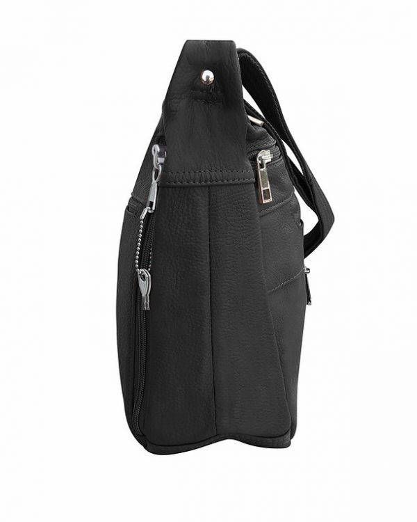 Patch Leather Concealed Carry Crossbody Bag Black side 2 Roma Leather