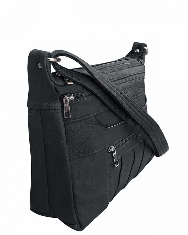 Patch Leather Concealed Carry Crossbody Bag Black side Roma Leather