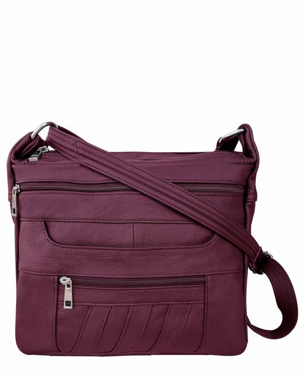 Patch Leather Concealed Carry Crossbody Bag Wine Roma Leather