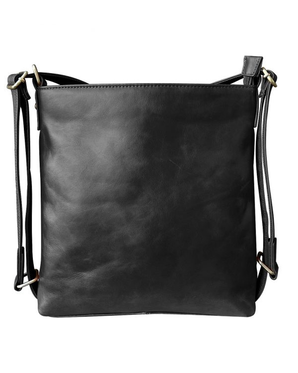 Wax Leather concealed Carry Satchel Backpack black Roma Leather
