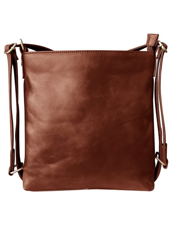 Wax Leather concealed Carry Satchel Backpack brown Roma Leather