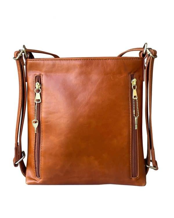Wax Leather concealed carry Satchel Backpack light brown back Roma Leather