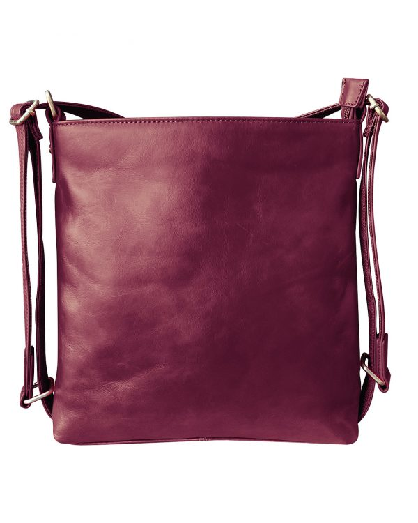 Wax Leather concealed carry Satchel Backpack wine Roma Leather