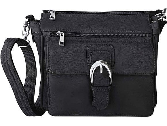 Black Buckle Front Leather Concealed Carry Crossbody Bag 7084 Roma Leathers