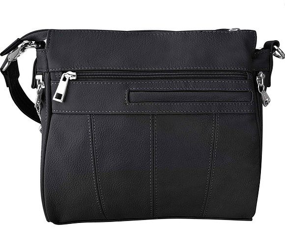 Black Buckle Front Leather Concealed Carry Crossbody Bag 7084 back Roma Leathers
