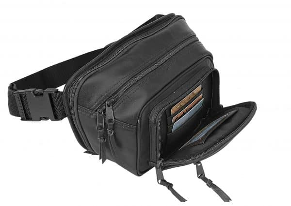 Black Compact Leather Waist Pack 7070 Roma Leather