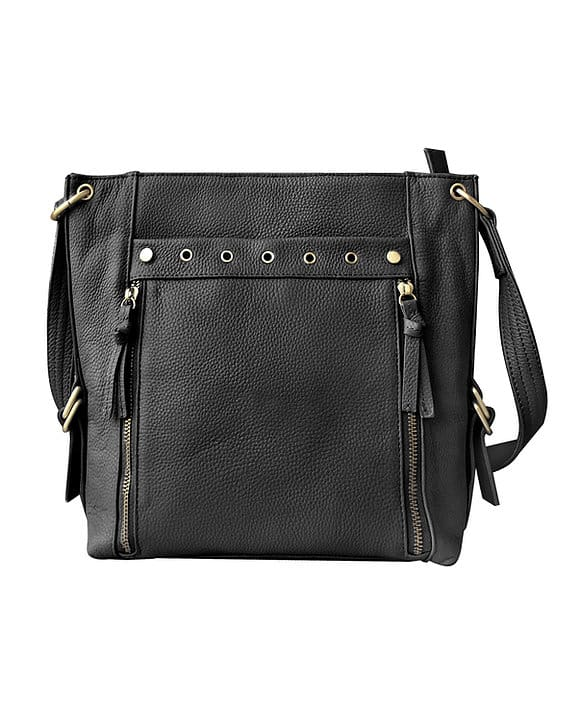 Black Cowhide Leather Concealed Carry Satchel Purse 7037 Roma Leathers