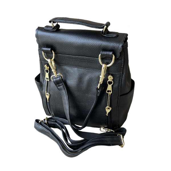 Black Leather Backpack Concealed Carry Purse 7049 back Roma Leathers