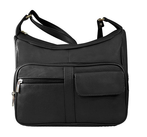 Black Multi Pocket Leather Concealed Carry Crossbody Bag 7081 Roma Leathers