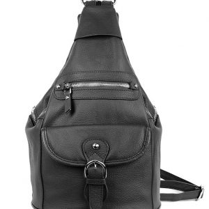 Snap Buckle Concealed Carry Leather Backpack