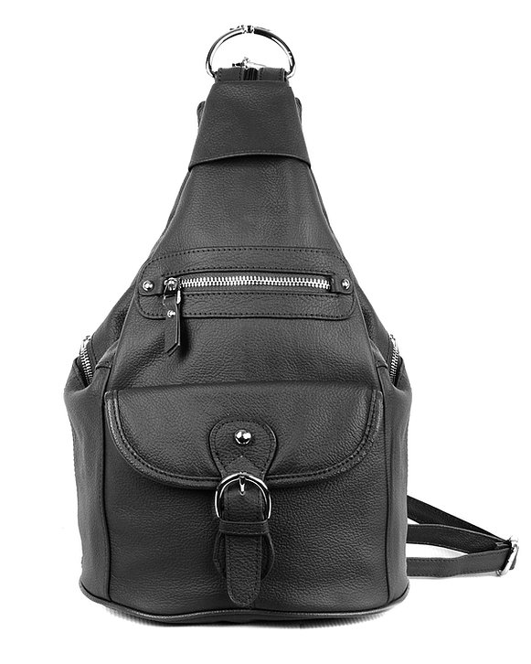 Black Snap Buckle Concealed Carry Backpack 7034 R Roma Leathers