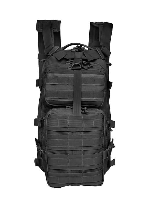 Black Tactical Backpack 6009 front Roma Leather