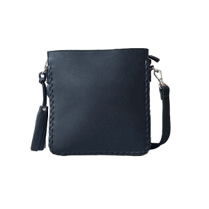 Black Vegan Leather Concealed Carry Crossbody Bag 8008R Front Roman Leather