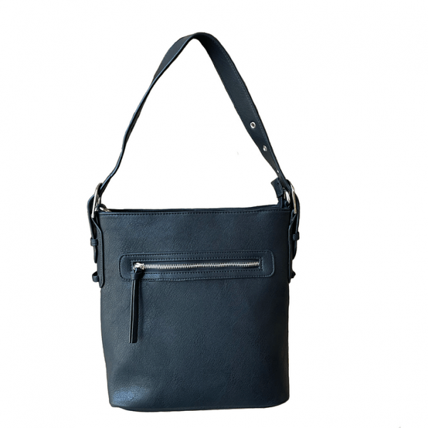 Black Vegan Leather Concealment Purse 8009R Roma Leathers