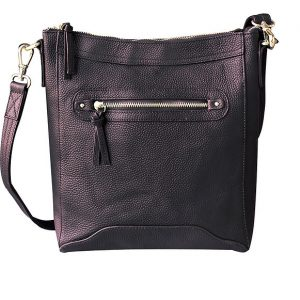 Women's Cowhide Leather Cross Body Zippered Concealed Carry Purse