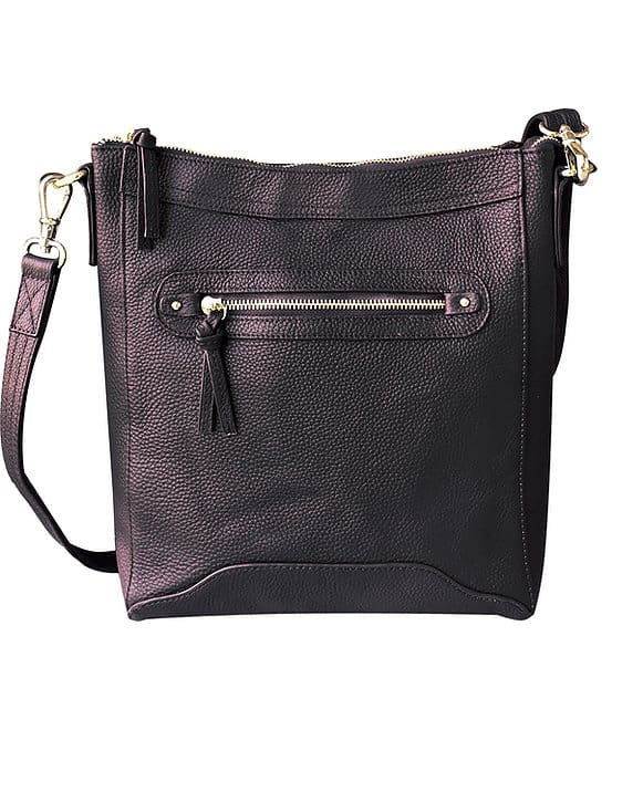 Black Womens Cowhide Leather Cross Body zippered CCW Purse 7038 Roma Leathers