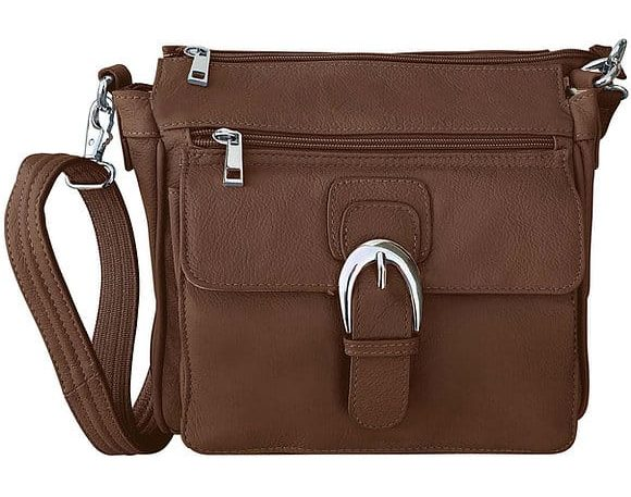 Brown Buckle Front Leather Concealed Carry Crossbody Bag 7084 Roma Leathers