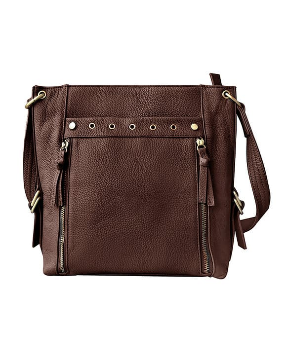 Brown Cowhide Leather Concealed Carry Satchel Purse 7037 Roma Leathers
