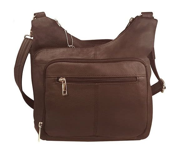 Brown Cross Panel Leather Concealed Carry Crossbody Bag 7085 Roma Leathers