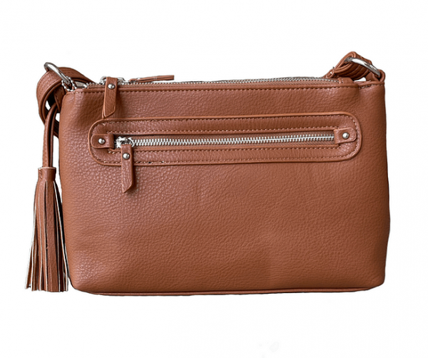 Brown Crossbody Compact Concealed Carry Purse 8013R Roma Leathers