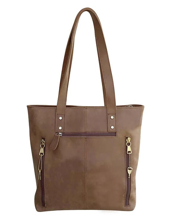 Brown Distressed Leather Concealed Carry Tote 9001 back Roma Leathers