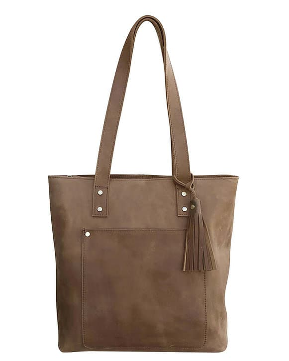 Brown Distressed Leather Concealed Carry Tote 9001 front Roma Leathers