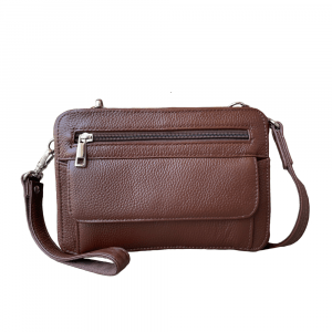 Dual Compartment Concealed Carry Leather Wristlet