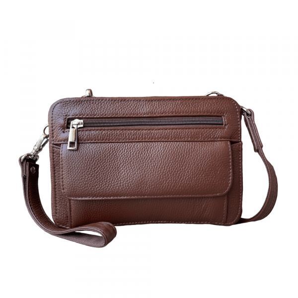 Brown Dual Compartment Concealed Carry Leather Wristlet 7063 R Roma Leather