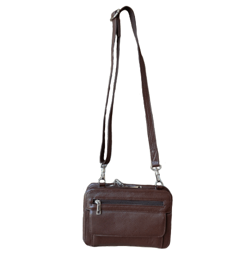 Brown Dual Compartment Concealed Carry Leather Wristlet 7063 R front Roma Leather