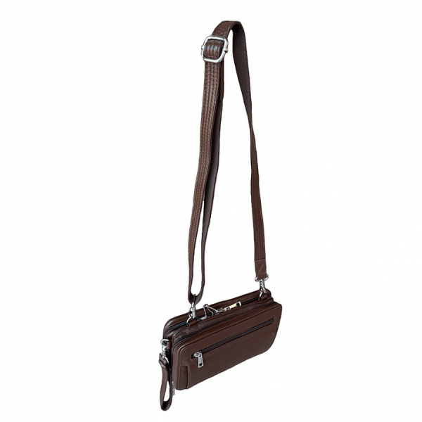 Brown Dual Compartment Concealed Carry Leather Wristlet 7063 R side Roma Leather