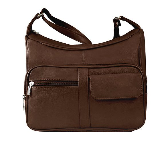 Brown Multi Pocket Leather Concealed Carry Crossbody Bag 7081 Roma Leathers