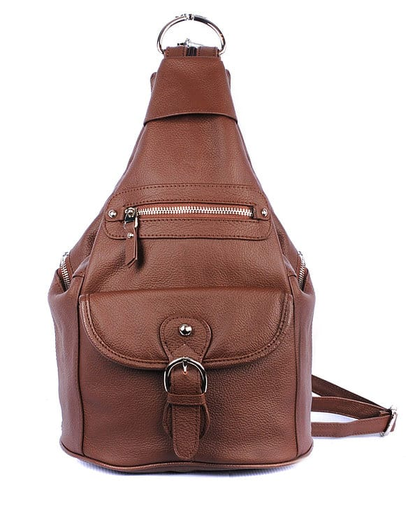 Brown Snap Buckle Concealed Carry Backpack 7034 R Roma Leathers