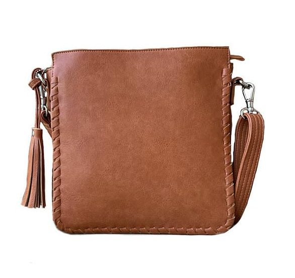 Brown Vegan Leather Concealed Carry Crossbody bag 8008R Roman Leather