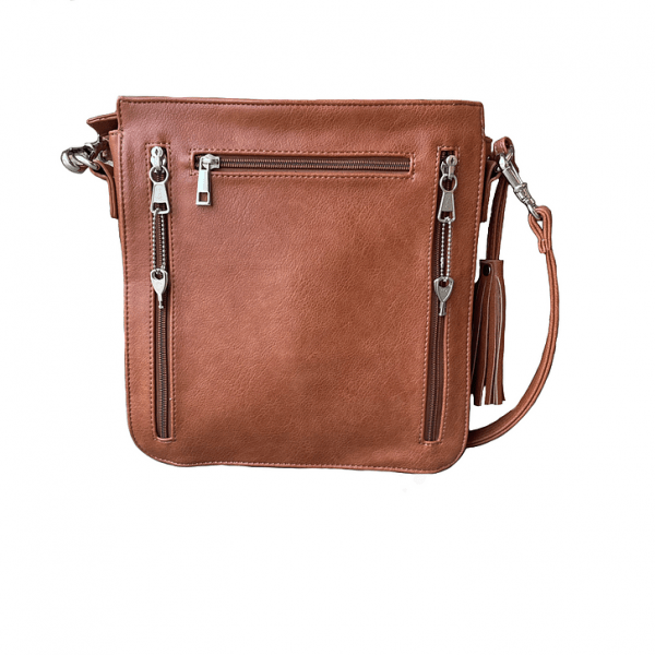 Brown Vegan Leather Concealed Carry Crossbody bag 8008R back Roman Leather