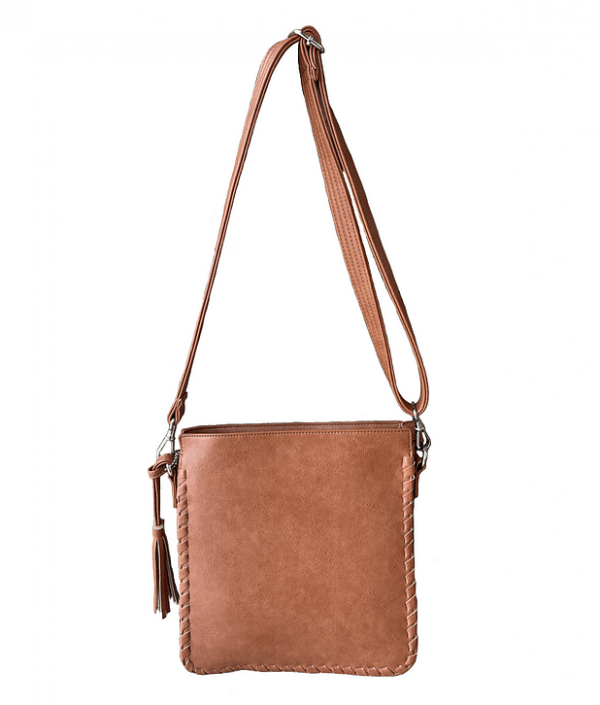 Brown Vegan Leather Concealed Carry Crossbody bag 8008R front Roman Leather