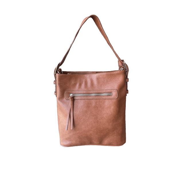 Brown Vegan Leather Concealment Purse 8009R Roma Leathers