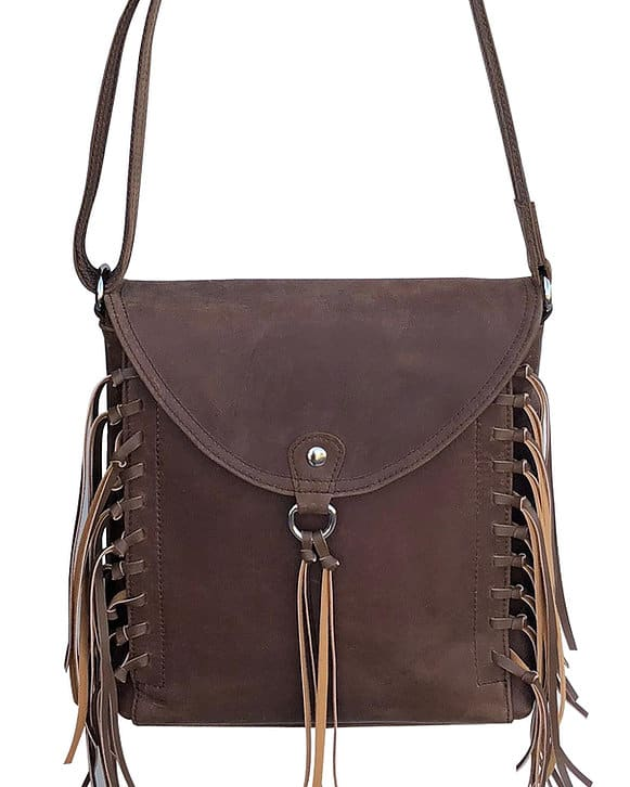 Brown Western Leather Fringe Conceled Carry Crossbody Bag 9002 front Roma Leathers