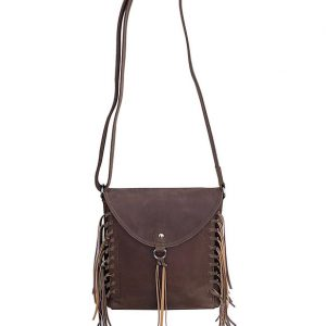 Brown Western Leather Fringe Conceled Carry Crossbody Bag 9002 Front Full Roma Leathers