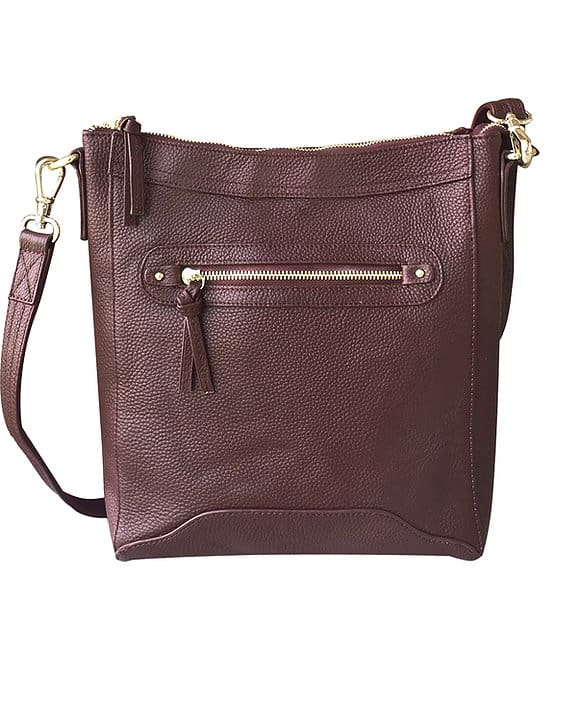 Brown Womens Cowhide Leather Cross Body zippered CCW Purse 7038 Roma Leathers