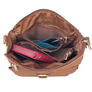 Buckle Front Leather Concealed Carry Crossbody Bag 7084 Inside Roma Leathers