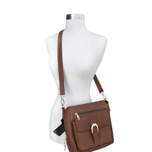 Buckle Front Leather Concealed Carry Crossbody Bag