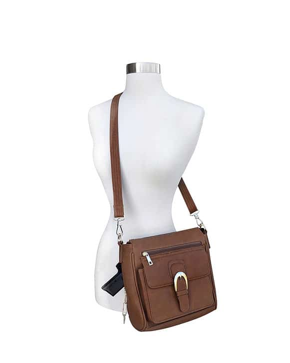 Buckle Front Leather Concealed Carry Crossbody Bag 7084 over the should Roma Leathers